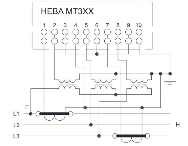 НЕВА МТ323 через два трансформатора тока и три трансформатора напряжения в 3хпроводную сеть