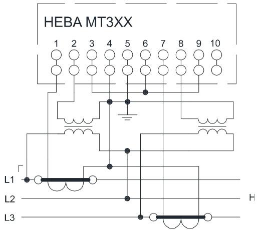 НЕВА МТ323 через трансформаторы тока и трансформаторы напряжения в3хпроводную сеть