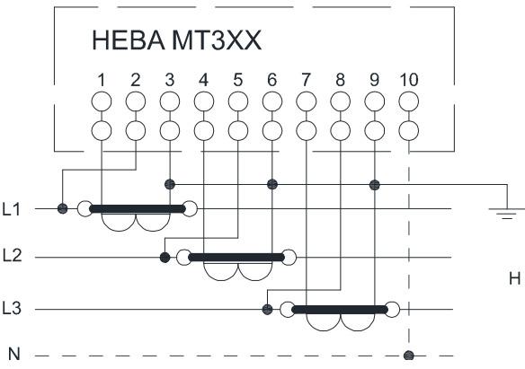 НЕВА МТ323 через трансформаторы тока