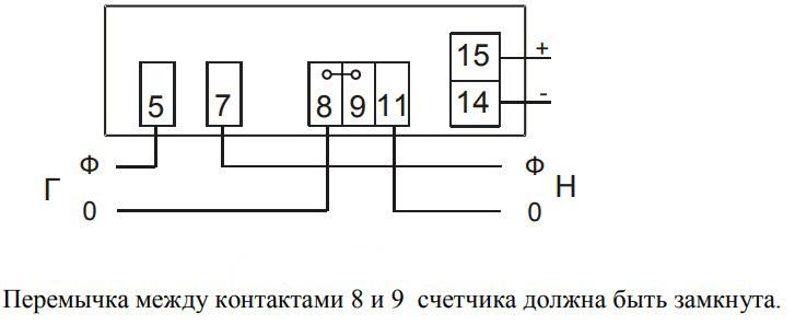 Схема подключения счётчика НИК 2102