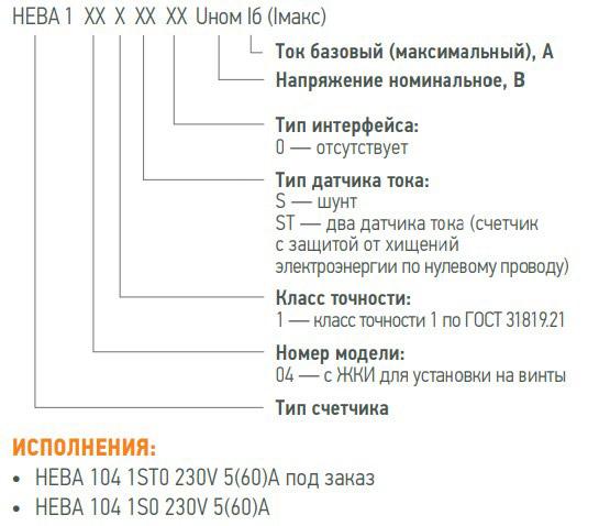 Расшифровка маркировки счётчиков Нева 104