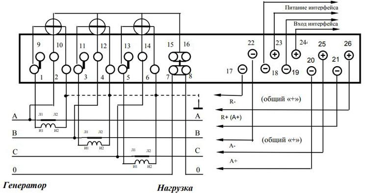 Схема подключения счётчика с помощью трёх трансформаторов тока