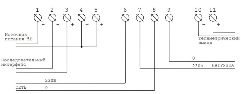 Схема подключения счётчиков МЕРКУРИЙ 200 к сети 230 В