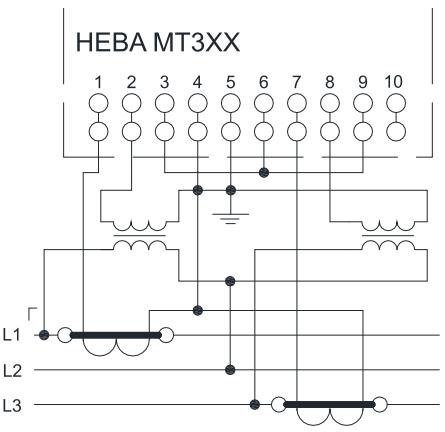 НЕВА МТ 314 через трансформаторы тока и напряжения в трёхпроводную сеть