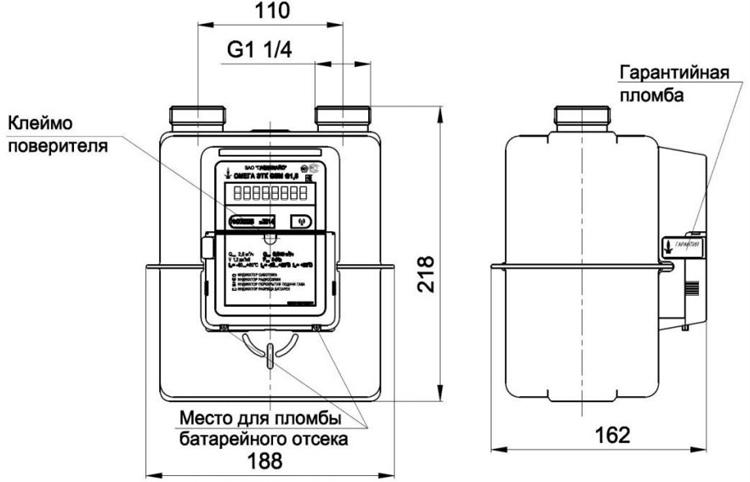 Габаритные и присоединительные размеры счётчика ОМЕГА G4