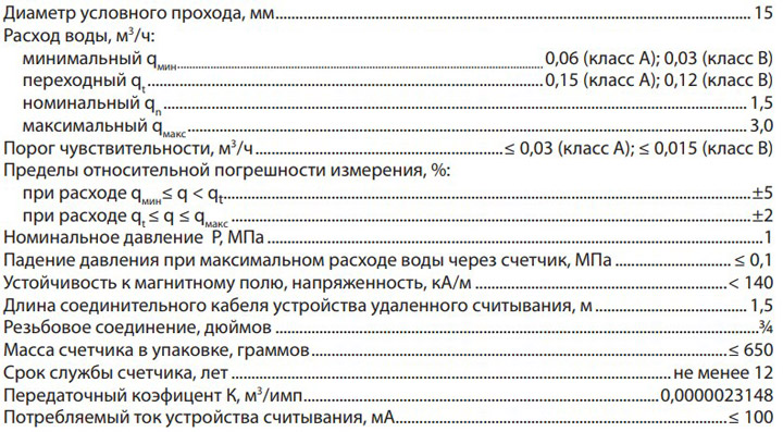 Технические характеристики счётчика Берегун