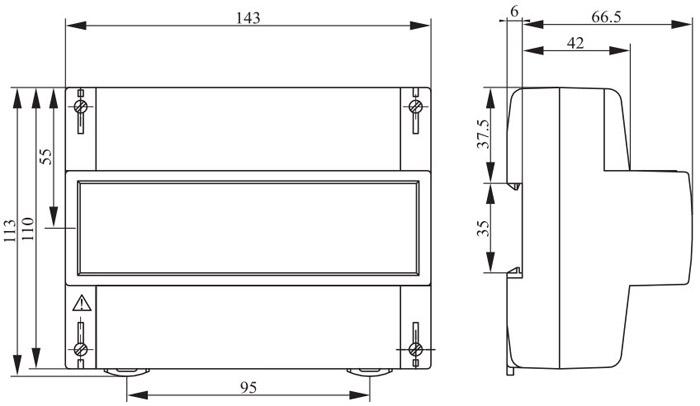Габаритные размеры счётчика типа R31