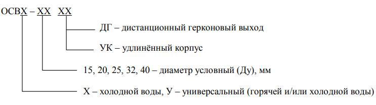 Расшифровка маркировки счётчиков ОСВУ(Х)