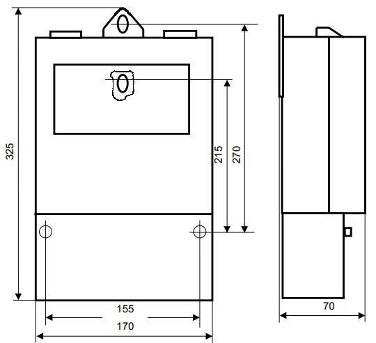 Габаритные и присоединительные размеры счётчика ПСЧ-3А