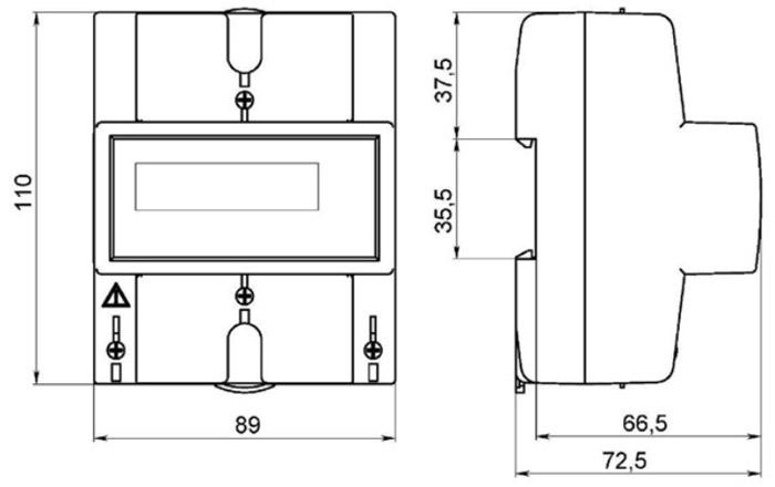 Габаритные размеры счётчика СЕ102М R5