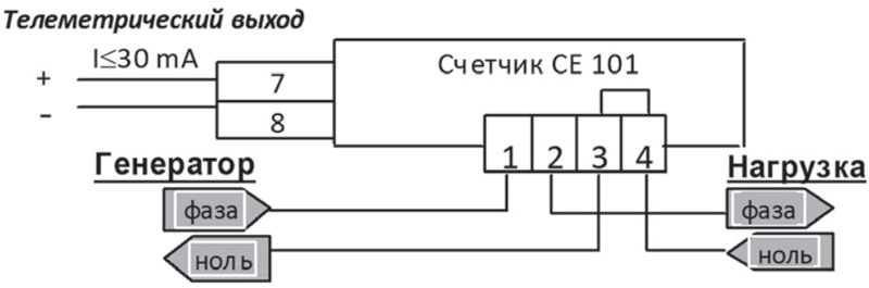 Схема подключения счётчика СЕ101