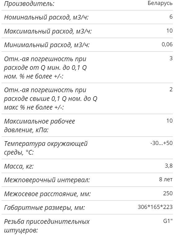 Технические характеристики счётчика Берестье Г6