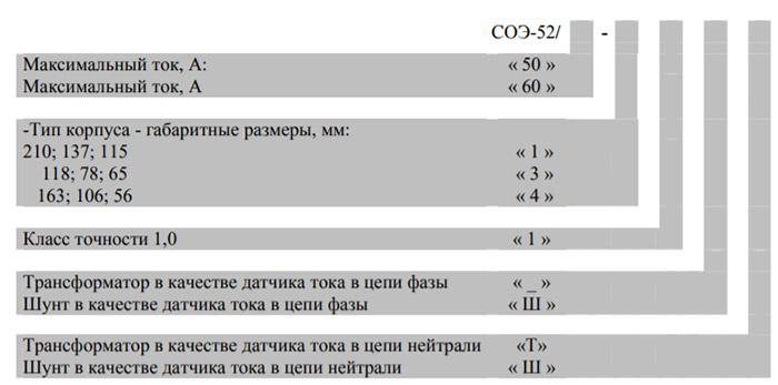 Расшифровка маркировки счётчика - СОЭ 52..